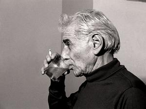Leonard Bernstein in a Carnegie Hall dressing room November 17, 1985.