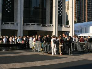 At 7:30 a.m. several hundred had already gathered for the morning dress rehearsal