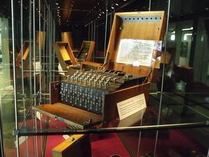 Enigma machines on display in Block B at Bletchley Park National Codes Centre