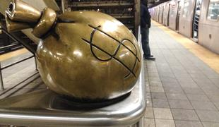 MTA money bag (Tom Otterness sculpture)