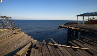 The broken boardwalk at Casino Pier in Seaside Heights, NJ which is struggling to come back after Sandy.