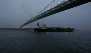 View from Seastreak ferry under the Verrazao Narrows Bridge heading to Lower Manhattan.