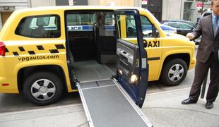 The wheelchair accessible taxi.