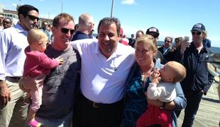 New Jersey Governor Chris Christie greets voters on the Asbury Park boardwalk on Memorial Day 2013.
