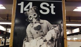 subway, art, gas mask