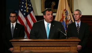 Gov. Chris Christie announces his selection of Robert Hanna, right, President of the Board of Public Utilities, and Judge David Bauman of the Superior Court of New Jersey to the NJ Supreme Court.