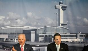 Vice President Joe Biden and Governor Andrew Cuomo announce a design competition in October 2014 to remake JFK and LaGuardia airports.