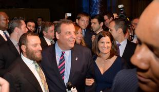 (L-R) Rabbi Shmuley Boteach, Chris Christie and Mary Pat Foster attend World Jewish Values Network second annual gala dinner on May 18, 2014 in New York City.