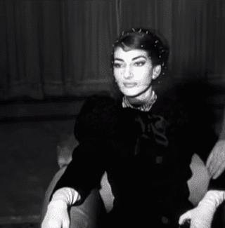 A still from a British Movietone report on Maria Callas
