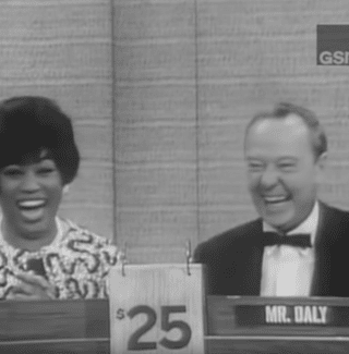Soprano Leontyne Price as a celebrity guest on the game show, 'What's My Line?'