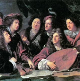 Jean Baptiste Lully (second from right), rocking out in the 1680s with his long-haired buddies.