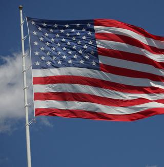 An American flag at full staff.