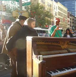 Kevin Shoemaker plays his piano in Union Square