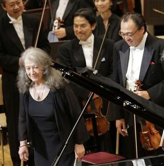 Conductor Seiji Ozawa and pianist Martha Argerich with the Saito Kinen Orchestra on Sept. 1, 2015