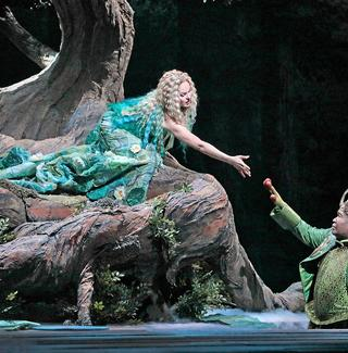 Kristine Opolais in the title role and Eric Owens as the Water Sprite in Dvořák's Rusalka.
