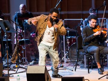 Rapper Pharoahe Monch and PitchBlak Brass Band at the 2016 Ecstatic Music Festival