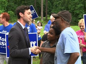 Democrat Jon Ossoff greets supporters in Georgia's historically-Republican 6th Congressional District.