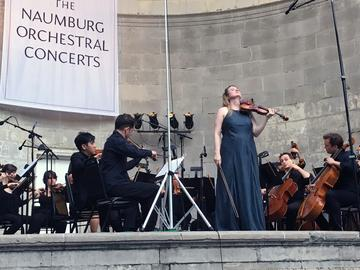 Violinist Lara St. John and Ensemble LPR at the Naumburg Bandshell in Central Park.