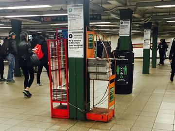 Metro and amNY newspaper racks in Union Square, one of eight subway stations where hawkers have already been replaced.