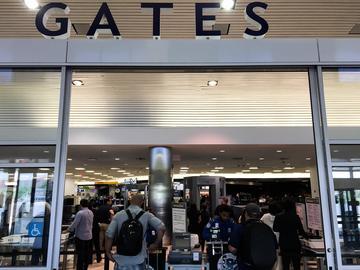 Security gate at LaGuardia airport.