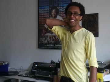 Jace Clayton, who performs as DJ /rupture, at his home in Brooklyn