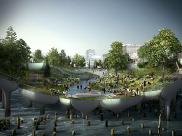 View of the proposed Pier 55 park above the Hudson River from the esplanade looking west.