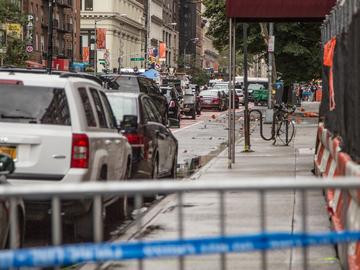 The scene of the explosion at 23rd St. and 6th avenue in Chelsea.