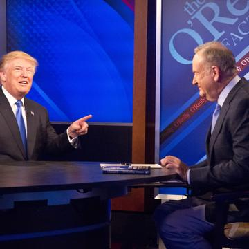 Republican presidential candidate Donald Trump, left, speaks during his interview by Bill O'Reilly on Fox's news talk show 'The O'Reilly Factor,' Friday, Nov. 6, 2015.