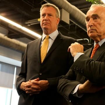 Mayor Bill de Blasio and Police Commissioner Bill Bratton at the NYPD's new police academy in Queens.