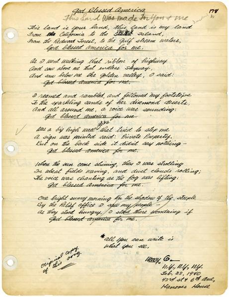 "The original, handwritten lyrics to ""This Land Is Your Land,"" dated February 23, 1940"