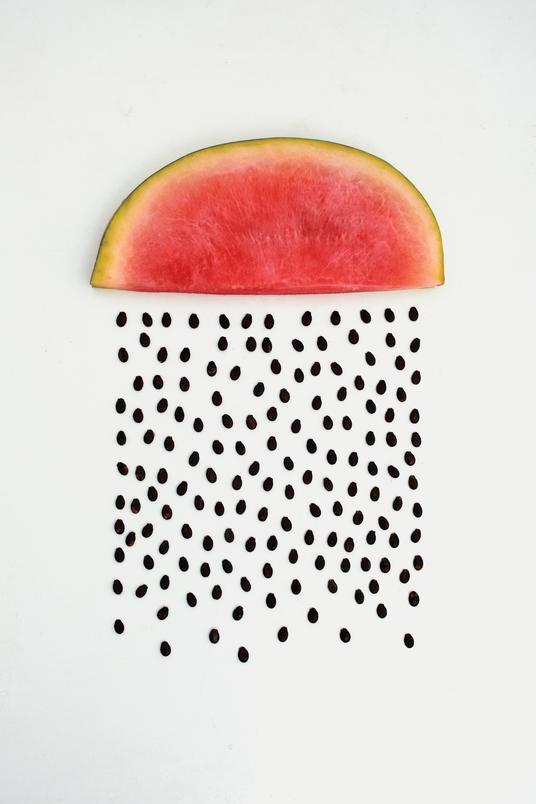 A neatly organized watermelon slice