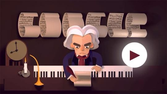 Google celebrates Beethoven's 245th year with an interactive doodle