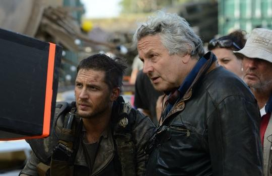 """George Miller with Tom Hardy on the set of """"Mad Max: Fury Road"""""""