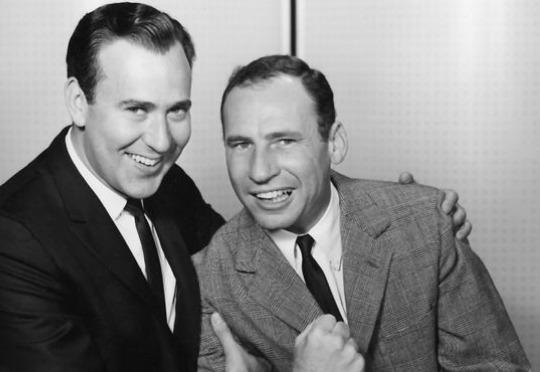 Carl Reiner and Mel Brooks in their in their iconic '2000 Year Old Man' routine