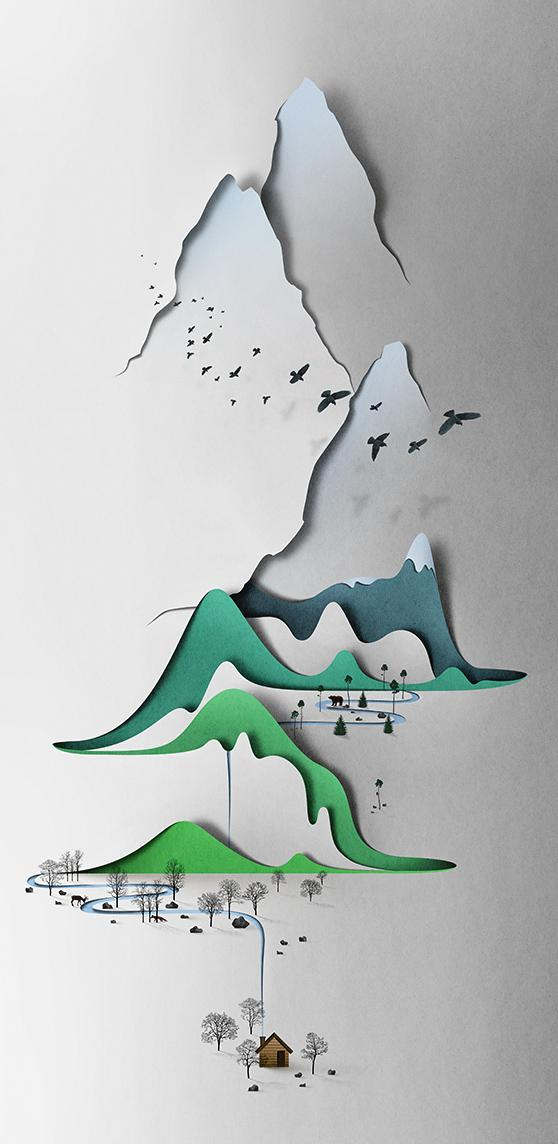 This paper landscape is the work of Eiko Ojala, an illustrator and graphic designer based in Estonia