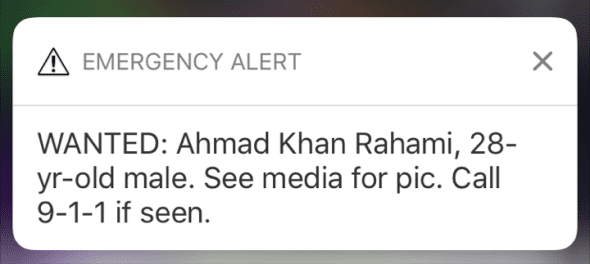 Push alert sent out on 9-19-2016 after a bombing in New York and New Jerseua