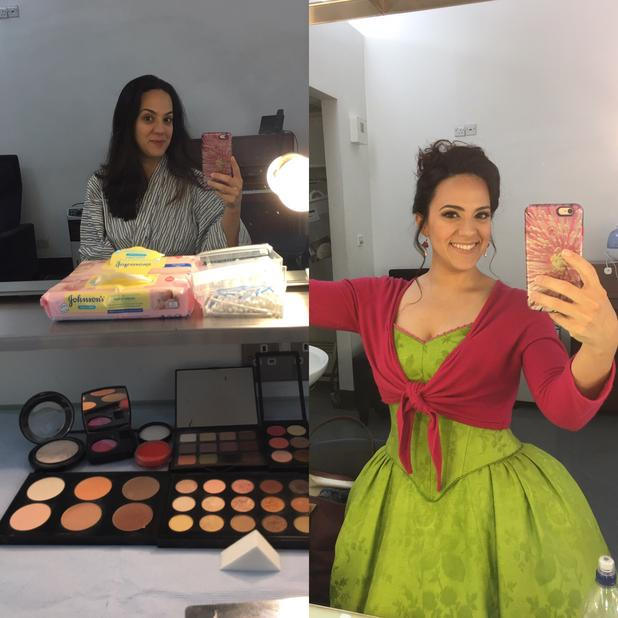 Daniela Mack, before and after makeup and costuming.
