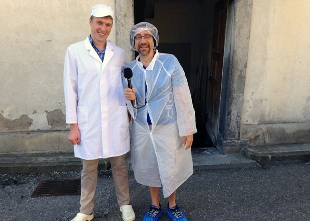 WQXR host Jeff Spurgeon (right) with Walter Grob, general manager of the Schaukaesereii Cheese Factory in Engelberg, Switzerland.