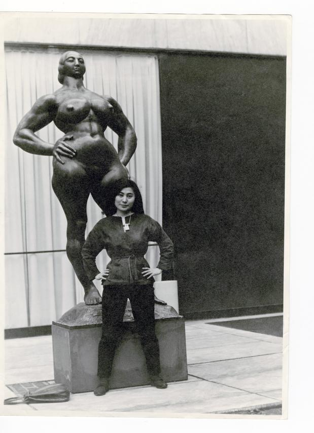 Yoko Ono with Standing Woman at The Museum of Modern Art Sculpture Garden in 1960