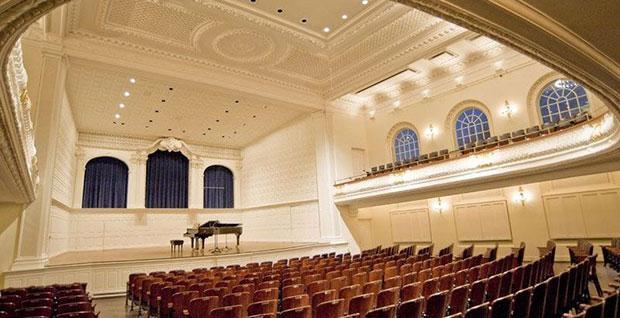 Interior of Morse Recital Hall at Yale School of Music's Sprague Hall