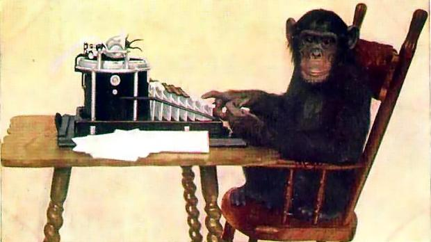'Monkey-typing' by New York Zoological Society - Picture on Early Office Museum.