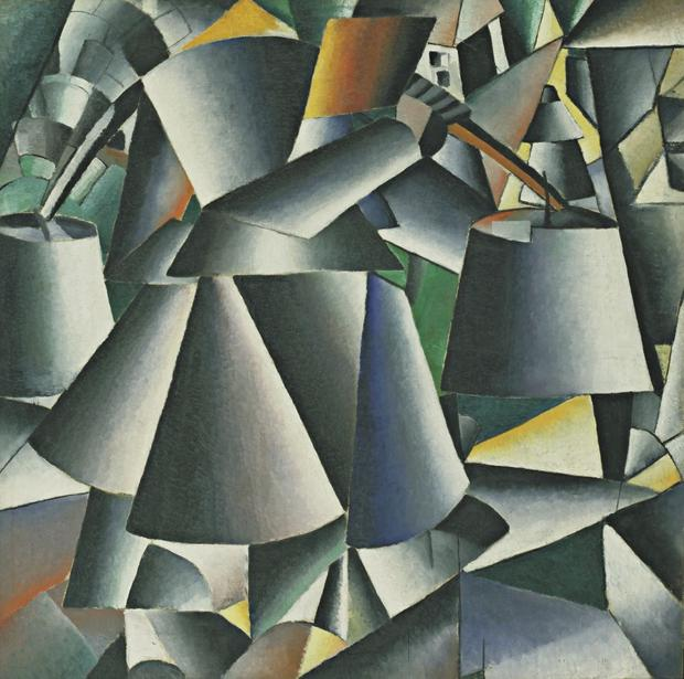 Kazimir Malevich, Woman with Pails: Dynamic Arrangement, 1912-13 (dated on reverse 1912)