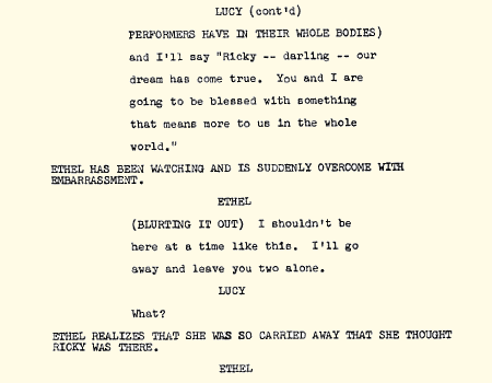 A script page for the episode 'Lucy is Enceinte'