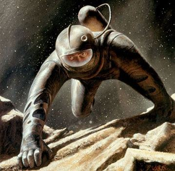 <em>Man into Space</em>. Special cover painting for the April 1962 issue of <em>Analog Science Fact / Science Fiction</em>.