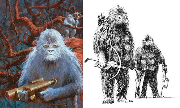 These illustrations for George R. R. Martin's 1975 novelette <em>And Seven Times Never Kill Man</em> anticipated — and arguably inspired — the wookies of Star Wars.