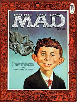 Neuman's face first appeared on the cover of Issue #30 in March 1955. Prior to that issue, he had appeared in the pages of Mad under different names.