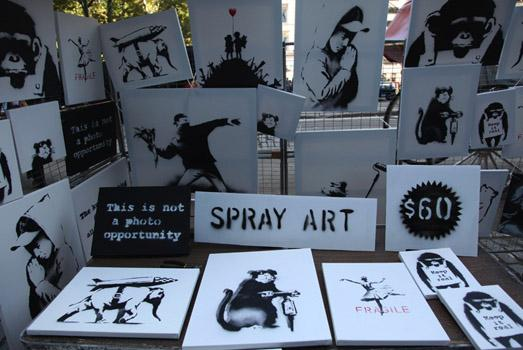 On October 13, Banksy set up a nondescript stall in Central Park where a salesman sold the artist's original canvases for $60 (the customers were not aware they were buying pieces by Banksy).