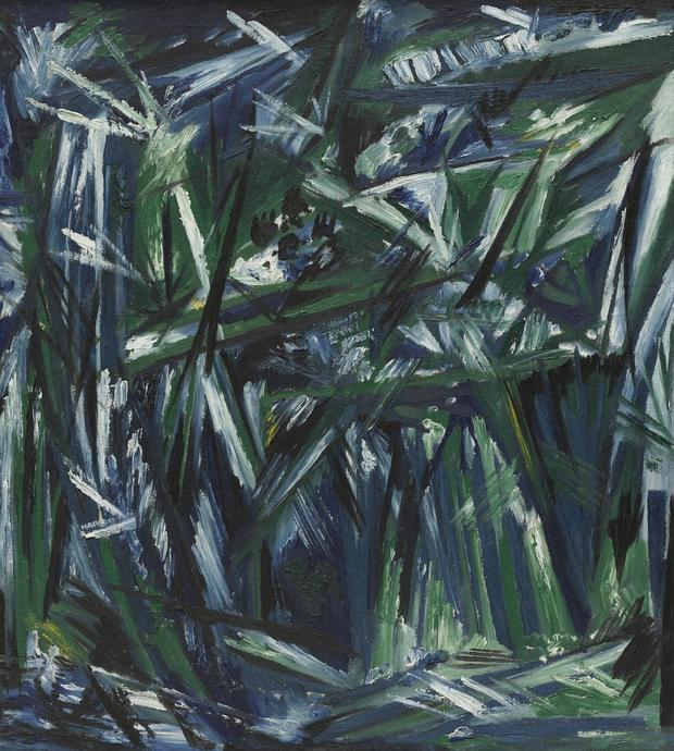 Natalia Goncharova, Rayonism, Blue-Green Forest, 1913 (dated on reverse 1911)