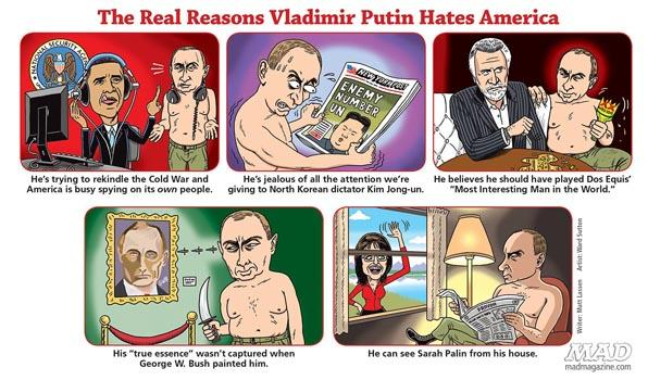 A comic from the August 2014 edition spoofing Russian president Vladmir Putin.