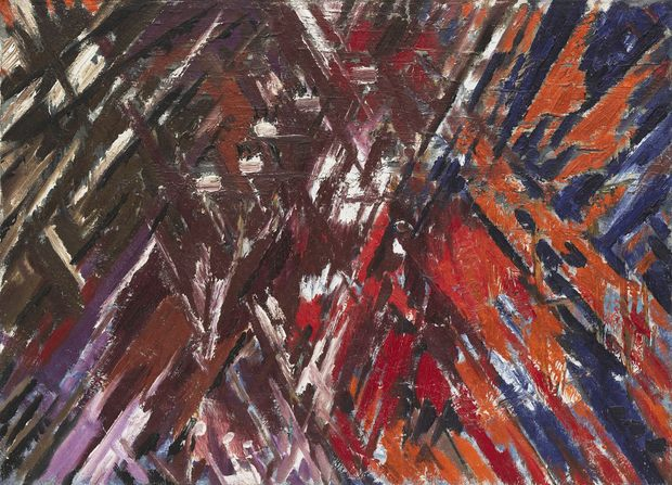 Mikhail Larionov, Rayonist Composition: Domination of Red, 1912-13 (dated on painting 1911)